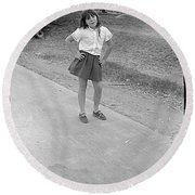 Sassy Girl, 1971 Round Beach Towel