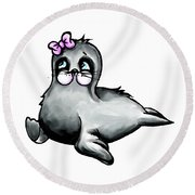Round Beach Towel featuring the digital art Sassy Seal by Lizzy Love