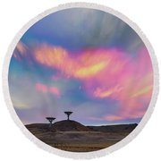Round Beach Towel featuring the photograph Satellite Dishes Quiet Communications To The Skies by James BO Insogna