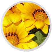 Satin Yellow Florals Round Beach Towel