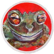 Satisfied Froggy  Round Beach Towel