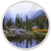 Saturated Forest Round Beach Towel by Chad Dutson