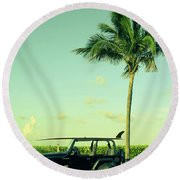Round Beach Towel featuring the photograph Saturday by Laura Fasulo
