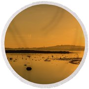 Saturday Morning Along The Estuary  Round Beach Towel