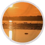 Saturday Morning Along The Estuary Pano Round Beach Towel
