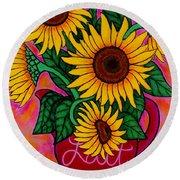 Saturday Morning Sunflowers Round Beach Towel