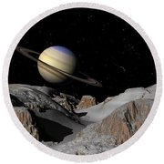 Saturn From The Moon Dione Round Beach Towel