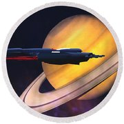 Saturn Visit Round Beach Towel