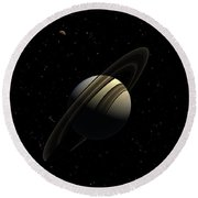 Saturn With Titan Round Beach Towel