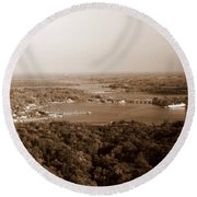 Saugatuck Michigan Harbor Aerial Photograph Round Beach Towel