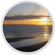 Saunton Sands Sunset Round Beach Towel