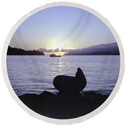 Sausalito Morning Round Beach Towel