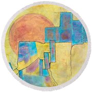 Round Beach Towel featuring the painting Sausalito by Nancy Jolley
