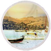 Sausalito Sailboats Round Beach Towel
