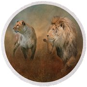 Savanna Lions Round Beach Towel