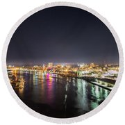 Savannah Georgia Skyline Round Beach Towel