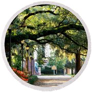 Savannah Park Sidewalk Round Beach Towel