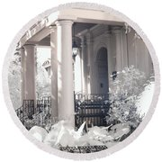 Savannah Porches Historical Homes - Savannah Olde Pink House Black White Infrared Architecture Print Round Beach Towel