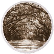 Savannah Sepia - Glorious Oaks Round Beach Towel