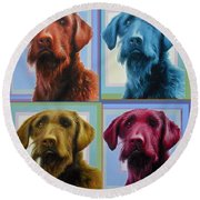 Savannah The Labradoodle Round Beach Towel