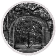 Round Beach Towel featuring the photograph Savannah's Wormsloe Plantation Gate Bw Live Oak Alley Art by Reid Callaway