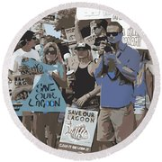 Round Beach Towel featuring the digital art Save Our Lagoon by Megan Dirsa-DuBois