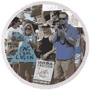 Save Our Lagoon Round Beach Towel by Megan Dirsa-DuBois