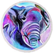Save The Elephants Round Beach Towel by Jenny Lee