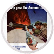 Save Your Cans - Help Pass The Ammunition Round Beach Towel