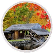 Sawmill Reflection, Autumn In New Hampshire Round Beach Towel