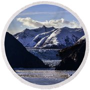Sawyer Glacier In Tracy Arm Fjord Round Beach Towel