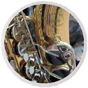 Sax In The City Round Beach Towel
