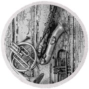 Sax French Horn And Trumpet Round Beach Towel