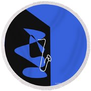 Saxophone In Blue Round Beach Towel by David Bridburg