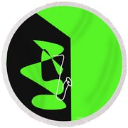 Saxophone In Green Round Beach Towel by David Bridburg