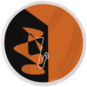Saxophone In Orange Round Beach Towel by David Bridburg