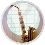 Saxophone In Round Window Round Beach Towel