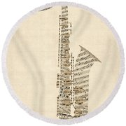 Saxophone Old Sheet Music Round Beach Towel