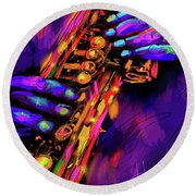 Saxy Hands Round Beach Towel by DC Langer
