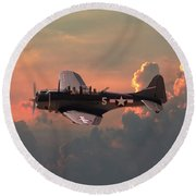 Round Beach Towel featuring the digital art  Sbd - Dauntless by Pat Speirs