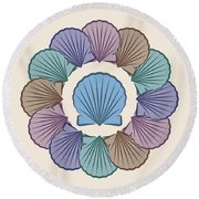 Scallop Shells Circle Multi Color Round Beach Towel by MM Anderson