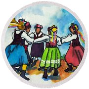 Scandinavian Dancers Round Beach Towel