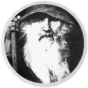 Scandinavian Mythology The Ancient God Odin Round Beach Towel