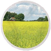 Scandinavian Summer Landscape With Yellow Meadow Round Beach Towel