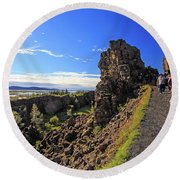 Scared Earth At The Mid-atlantic Rise In Thingvellir, Iceland Round Beach Towel by Allan Levin