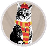 Scarf Weather Cat- Art By Linda Woods Round Beach Towel