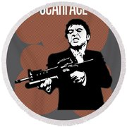 Scarface Poster Tony Montana Print Quote - Say Hello To My Little Friend Round Beach Towel