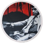 Scarface - Sunset 2013 Round Beach Towel by Luis Ludzska