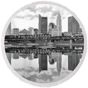 Round Beach Towel featuring the photograph Scarlet And Columbus Gray by Frozen in Time Fine Art Photography