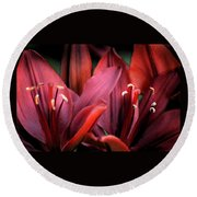 Scarlet Lilies Round Beach Towel
